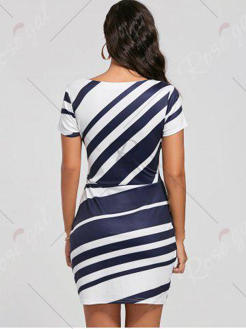 Outfits Fitted Striped Dress - L BLUE Mobile