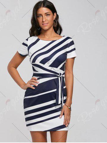 Best Fitted Striped Dress - L BLUE Mobile