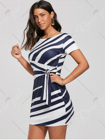 Latest Fitted Striped Dress - L BLUE Mobile
