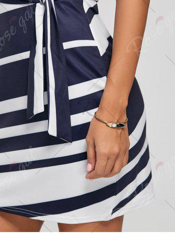 Fancy Fitted Striped Dress - L BLUE Mobile