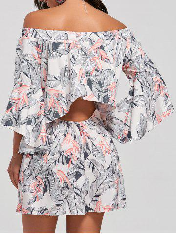 Flare Sleeve Leaf Print Off The Shoulder Dress Abricot S