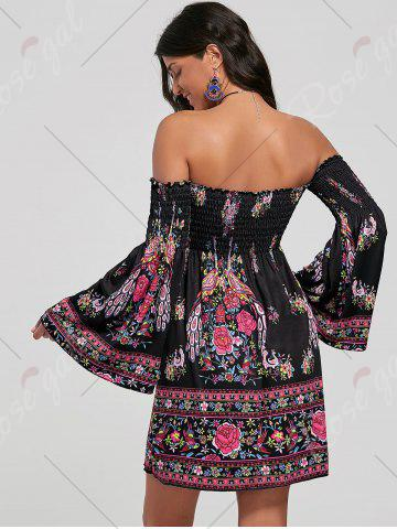 Chic Off The Shoulder Flare Sleeve Bohemian Dress - S BLACK Mobile