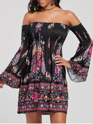 Off The Shoulder Flare Sleeve Bohemian Dress - Black - M
