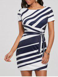 Fitted Striped Dress - BLUE M