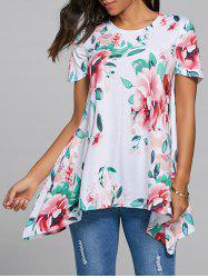 Floral Asymmetrical Tunic - WHITE S