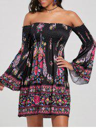 Off The Shoulder Flare Sleeve Bohemian Dress - BLACK