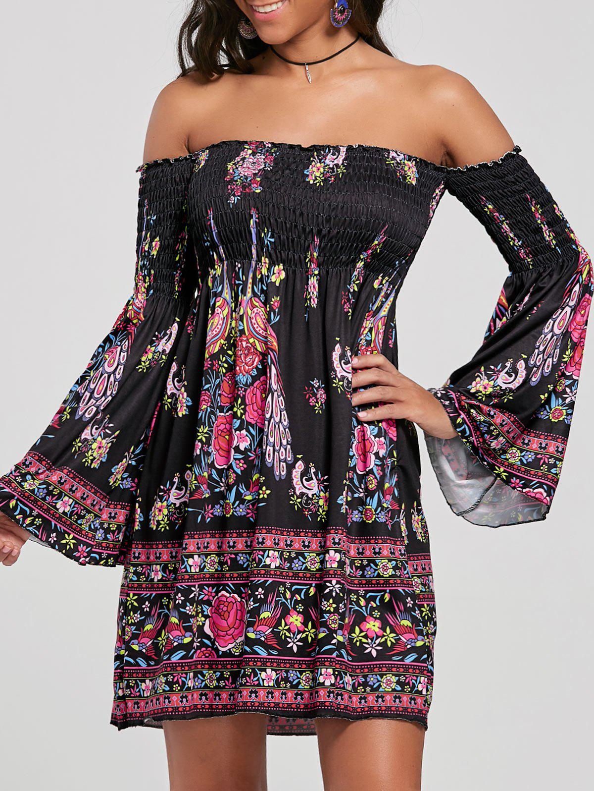 Off The Shoulder Flare Sleeve Bohemian DressWOMEN<br><br>Size: XL; Color: BLACK; Style: Bohemian; Material: Cotton Blend,Polyester; Silhouette: A-Line; Dress Type: African Dress,Tribal Dress; Dresses Length: Mini; Neckline: Off The Shoulder; Sleeve Type: Flare Sleeve; Sleeve Length: Long Sleeves; Waist: Empire; Pattern Type: Floral,Print; With Belt: No; Season: Fall,Spring; Weight: 0.3500kg; Package Contents: 1 x Dress;