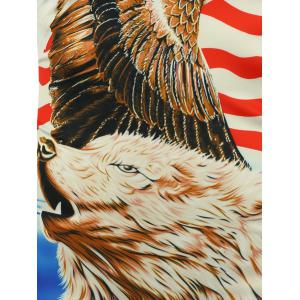 3D Bear Eagle and American Flag Print T-shirt -