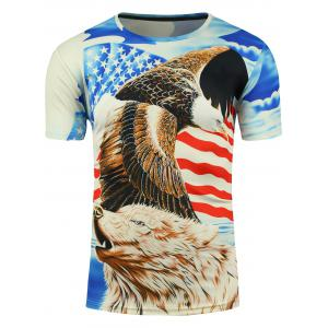 3D Bear Eagle and American Flag Print T-shirt