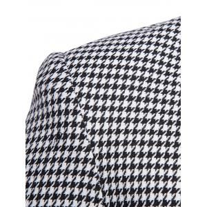 Notch Lapel Casual Houndstooth Blazer - BLACK WHITE L