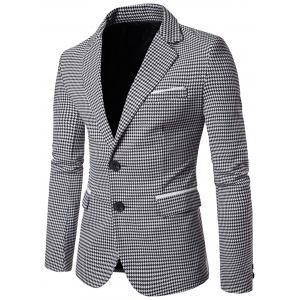 Notch Lapel Casual Houndstooth Blazer - Black White - M