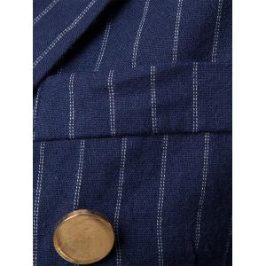 Peaked Lapel Vertical Stripe Casual Blazer - CADETBLUE M