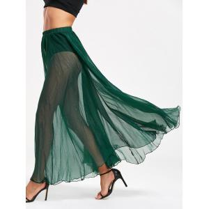 High Waist See Through Chiffon Maxi Skirt - Green - 2xl