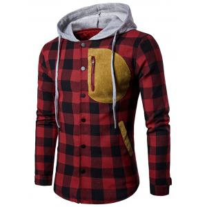 Snap Button Patchwork Plaid Hoodie - Black Red - M