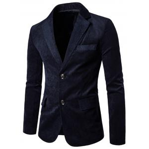 Notch Lapel Flap Pockets Corduroy Casual Blazer - Cadetblue - Xl