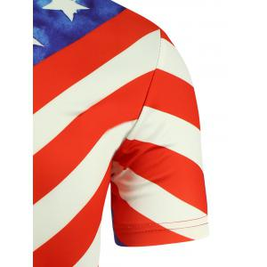 Short Sleeve 3D Eagle and American Flag Print T-shirt - COLORMIX XL