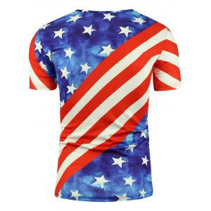 Short Sleeve 3D Eagle and American Flag Print T-shirt - COLORMIX 2XL