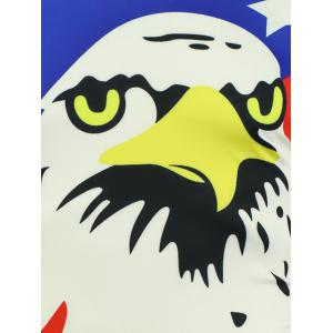 Cartoon Eagle and American Flag Print T-shirt - COLORMIX XL