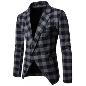 Notch Lapel One-button Plaid Casual Blazer - Gray - Xl
