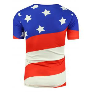 Cartoon Eagle and American Flag Print T-shirt -