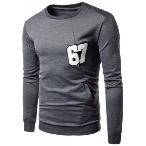 Letter Patch Pullover Sweatshirt - Deep Gray - M