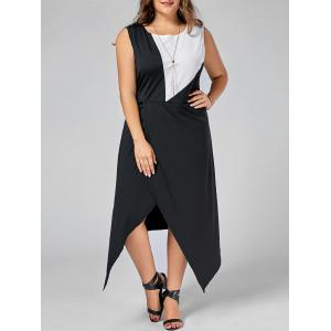 Color Block Midi Asymmetric Plus Size Dress