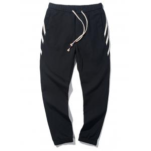 PU Leather Stripe Design Drawstring Jogger Pants
