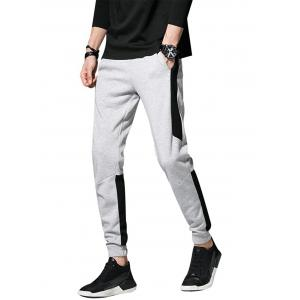 Color Block Panel Drawstring Beam Feet Jogger Pants