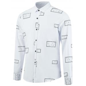 Long Sleeve Splatter Geometric Print Shirt