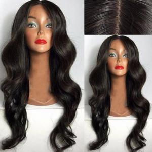 Long Center Parting Loose Wave Synthetic Wig - Black - 60cm