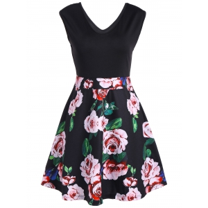 V Neck Sleeveless Floral Flare Cocktail Dress - Black - L