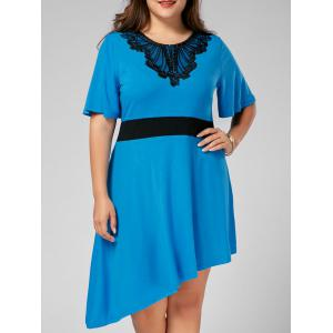 Plus Size Lace Embellished Asymmetric T-shirt Dress - Sky Blue - 5xl