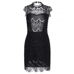 Sleeveless Half Sheer Nightclub Lace Sheath Dress - Black - Xl