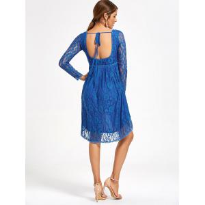 Empire Waist Asymmetrical Long Sleeve Lace Dress - BLUE S