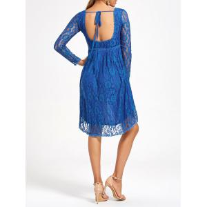 Empire Waist Asymmetrical Long Sleeve Lace Dress