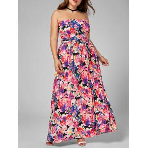 Plus Size Floral Floor Length Bandeau Dress - Multi - 3xl