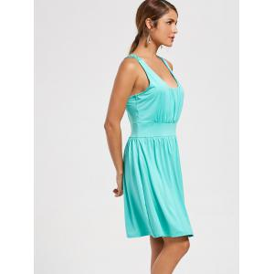 Lace Racerback Ruched Sleeveless Casual Dress - Cyan Clair S