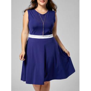 Plus Size Contrast Sleeveless A Line Dress