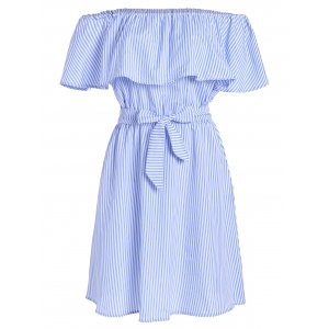 Off The Shoulder Tie Waist Stripe Dress - Light Blue - Xl