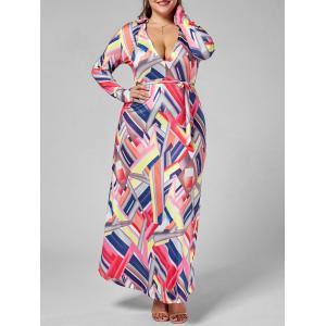 Printed Long Sleeve Floor Length Plus Size Dress