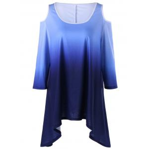 Plus Size Ombre Asymmetric Cold Shoulder Top