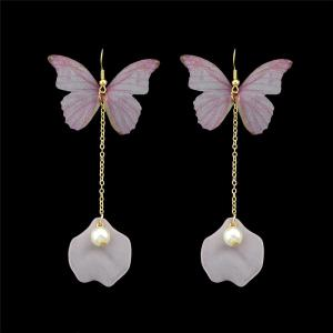 Mesh Faux Pearl Butterfly Hook Earrings