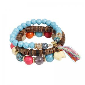 Tassel Jade Elephant Beaded Wooden Bracelet Set