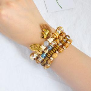 Elephant Leaf Tassel Wooden Beaded Bracelet Set - COFFEE