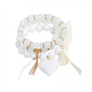 Heart Ribbon Feather Charm Beaded Bracelet Set