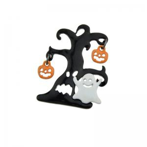 Halloween Tree Devil Pumpkin Ghost Brooch - COLORMIX
