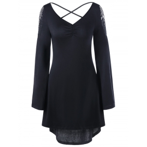 Openwork Long Sleeve High Low Hem Dress - Black - Xl