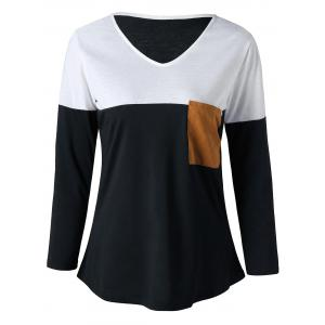 V Neck Elbow Patch Curved Top - White And Black - 2xl
