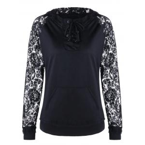 Lace Panel Lace Up Hoodie
