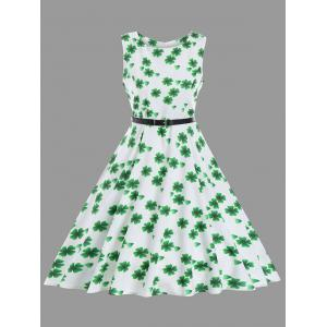 Fit and Flare Vintage Clover Print Dress